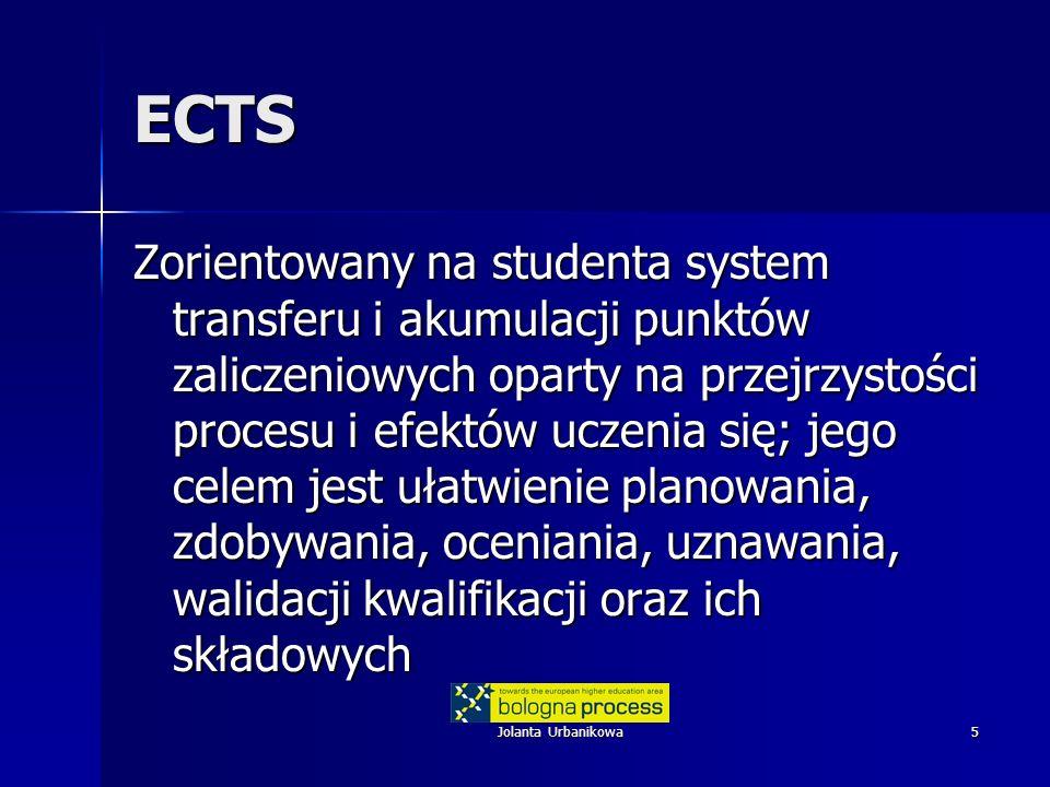 Jolanta Urbanikowa5 ECTS Zorientowany na studenta system transferu i akumulacji punktów zaliczeniowych oparty na przejrzystości procesu i efektów ucze