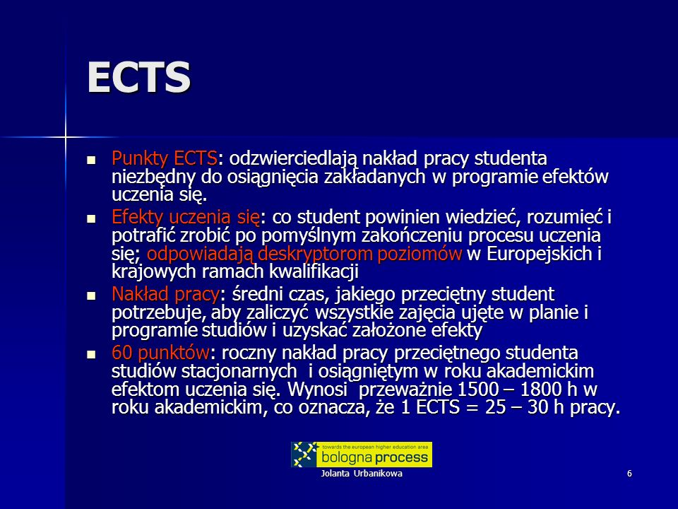 Jolanta Urbanikowa6 ECTS Punkty ECTS: odzwierciedlają nakład pracy studenta niezbędny do osiągnięcia zakładanych w programie efektów uczenia się. Punk