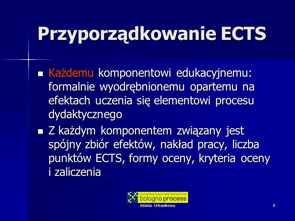 Jolanta Urbanikowa10 Przyporządkowanie ECTS Dokonuje się w ramach tworzenia programu studiów (zgodnie z Ramami i innymi regulacjami) Dokonuje się w ramach tworzenia programu studiów (zgodnie z Ramami i innymi regulacjami) –Uzgodnienie profilu studiów (cele uzgodnione z tzw.