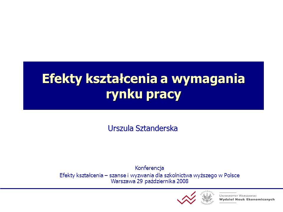Efekty kształcenia a wymagania rynku pracy Urszula Sztanderska Konferencja Efekty kształcenia – szanse i wyzwania dla szkolnictwa wyższego w Polsce Wa