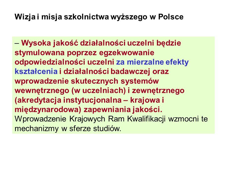 Wizja i misja szkolnictwa wyższego w Polsce – Wysoka jakość działalności uczelni będzie stymulowana poprzez egzekwowanie odpowiedzialności uczelni za mierzalne efekty kształcenia i działalności badawczej oraz wprowadzenie skutecznych systemów wewnętrznego (w uczelniach) i zewnętrznego (akredytacja instytucjonalna – krajowa i międzynarodowa) zapewniania jakości.
