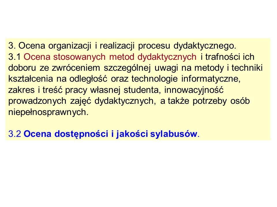 3. Ocena organizacji i realizacji procesu dydaktycznego. 3.1 Ocena stosowanych metod dydaktycznych i trafności ich doboru ze zwróceniem szczególnej uw