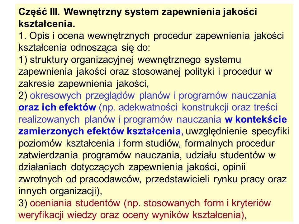 Część III. Wewnętrzny system zapewnienia jakości kształcenia. 1. Opis i ocena wewnętrznych procedur zapewnienia jakości kształcenia odnosząca się do: