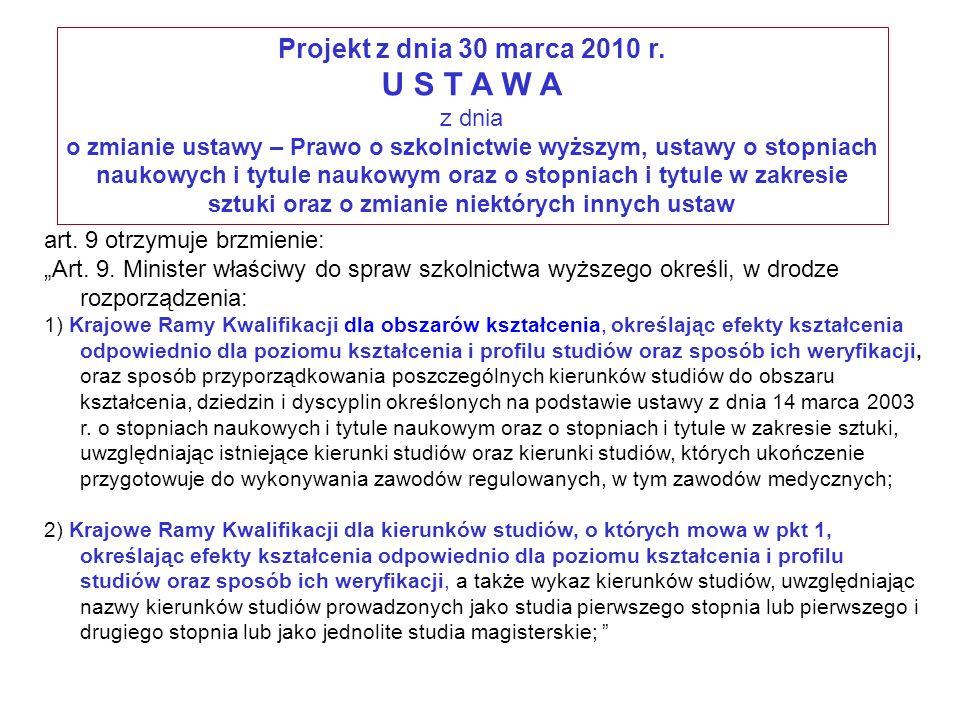 Projekt z dnia 30 marca 2010 r. U S T A W A z dnia o zmianie ustawy – Prawo o szkolnictwie wyższym, ustawy o stopniach naukowych i tytule naukowym ora