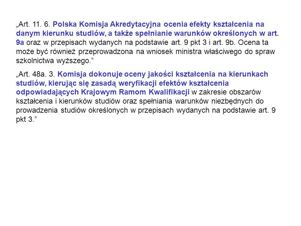 Art. 11. 6. Polska Komisja Akredytacyjna ocenia efekty kształcenia na danym kierunku studiów, a także spełnianie warunków określonych w art. 9a oraz w