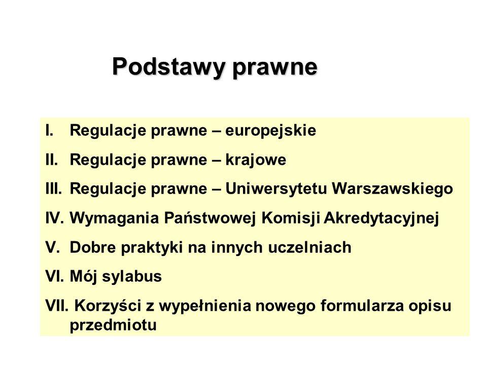 Podstawy prawne I.Regulacje prawne – europejskie II.Regulacje prawne – krajowe III.Regulacje prawne – Uniwersytetu Warszawskiego IV.Wymagania Państwow