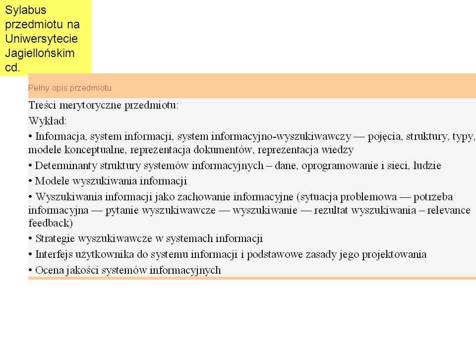 Sylabus przedmiotu na Uniwersytecie Jagiellońskim cd.