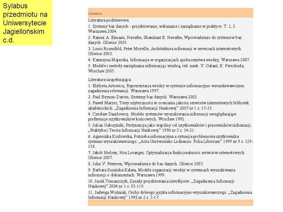Sylabus przedmiotu na Uniwersytecie Jagiellońskim c.d.