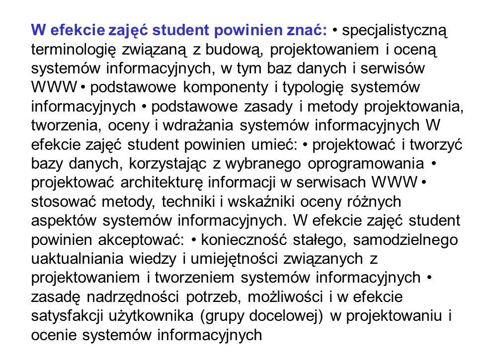 W efekcie zajęć student powinien znać: specjalistyczną terminologię związaną z budową, projektowaniem i oceną systemów informacyjnych, w tym baz danyc