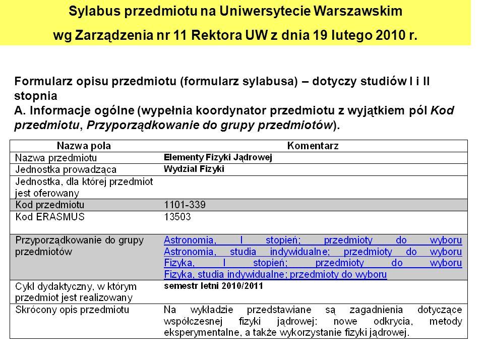 Formularz opisu przedmiotu (formularz sylabusa) – dotyczy studiów I i II stopnia A. Informacje ogólne (wypełnia koordynator przedmiotu z wyjątkiem pól