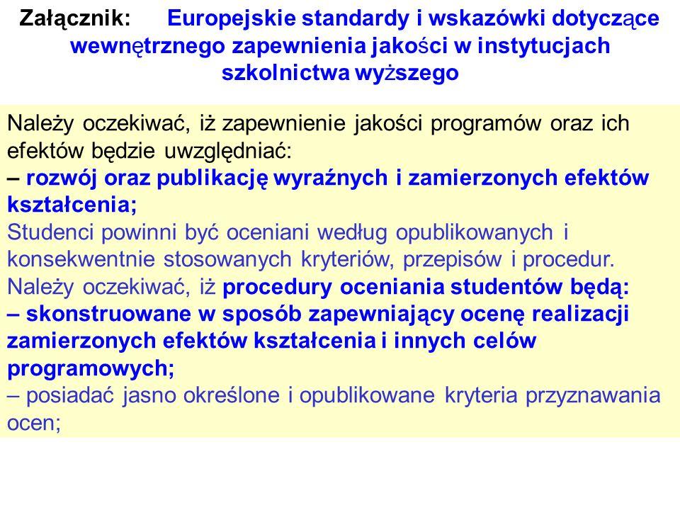 Załącznik: Europejskie standardy i wskazówki dotyczące wewnętrznego zapewnienia jakości w instytucjach szkolnictwa wyższego Należy oczekiwać, iż zapew