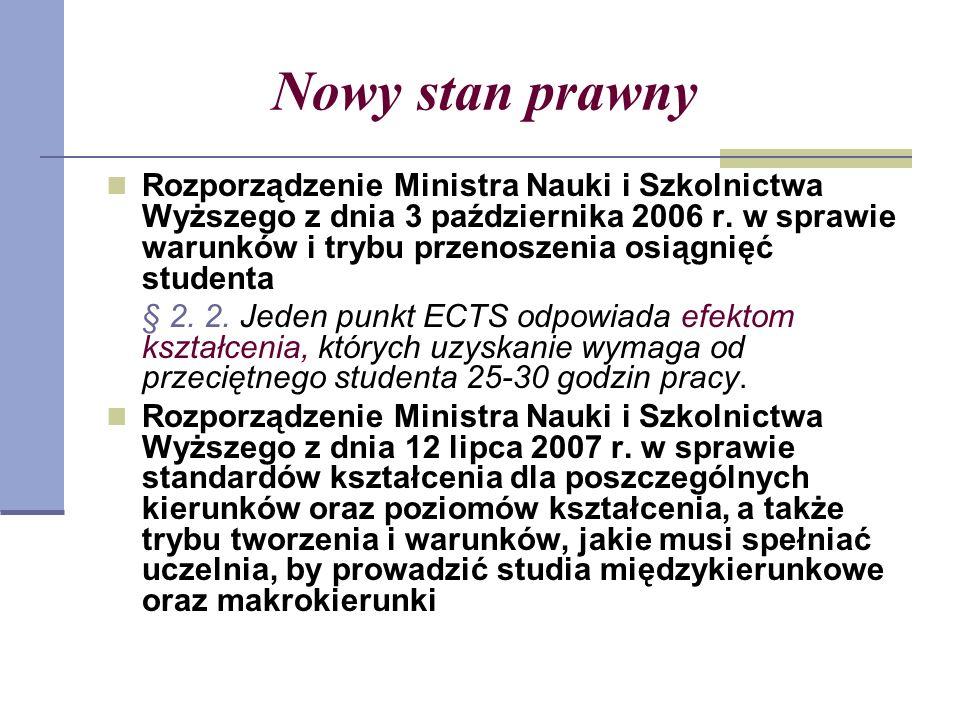 Nowy stan prawny Rozporządzenie Ministra Nauki i Szkolnictwa Wyższego z dnia 3 października 2006 r.