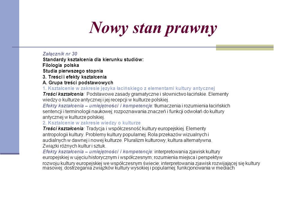 Nowy stan prawny Załącznik nr 30 Standardy kształcenia dla kierunku studiów: Filologia polska Studia pierwszego stopnia 3.