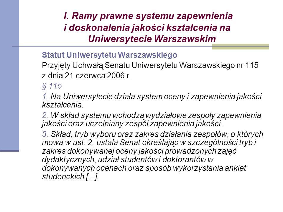 I. Ramy prawne systemu zapewnienia i doskonalenia jakości kształcenia na Uniwersytecie Warszawskim Statut Uniwersytetu Warszawskiego Przyjęty Uchwałą