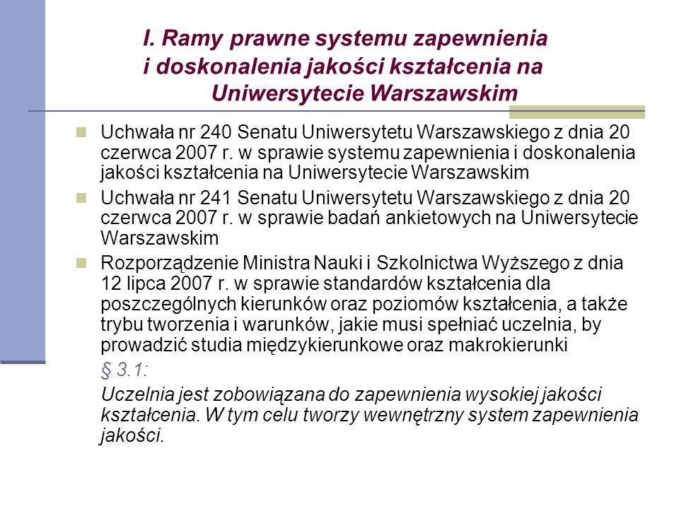 I. Ramy prawne systemu zapewnienia i doskonalenia jakości kształcenia na Uniwersytecie Warszawskim Uchwała nr 240 Senatu Uniwersytetu Warszawskiego z