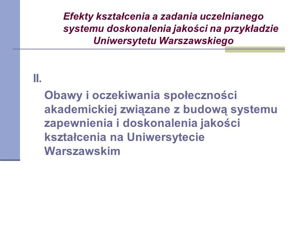 Efekty kształcenia a zadania uczelnianego systemu doskonalenia jakości na przykładzie Uniwersytetu Warszawskiego II.