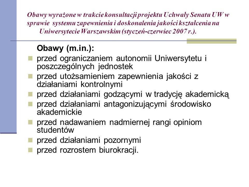 Obawy wyrażone w trakcie konsultacji projektu Uchwały Senatu UW w sprawie systemu zapewnienia i doskonalenia jakości kształcenia na Uniwersytecie Warszawskim (styczeń-czerwiec 2007 r.).