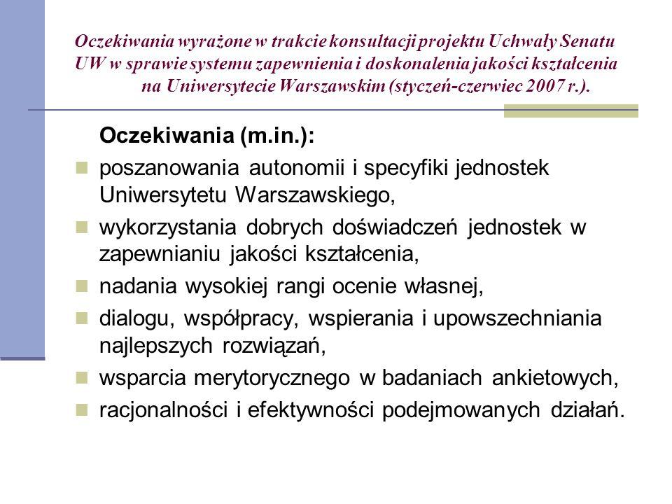Oczekiwania wyrażone w trakcie konsultacji projektu Uchwały Senatu UW w sprawie systemu zapewnienia i doskonalenia jakości kształcenia na Uniwersytecie Warszawskim (styczeń-czerwiec 2007 r.).