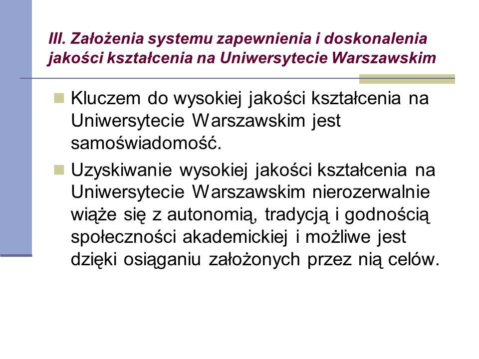 III. Założenia systemu zapewnienia i doskonalenia jakości kształcenia na Uniwersytecie Warszawskim Kluczem do wysokiej jakości kształcenia na Uniwersy