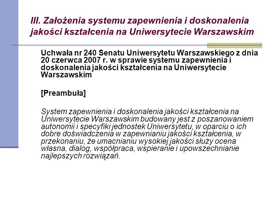 III. Założenia systemu zapewnienia i doskonalenia jakości kształcenia na Uniwersytecie Warszawskim Uchwała nr 240 Senatu Uniwersytetu Warszawskiego z