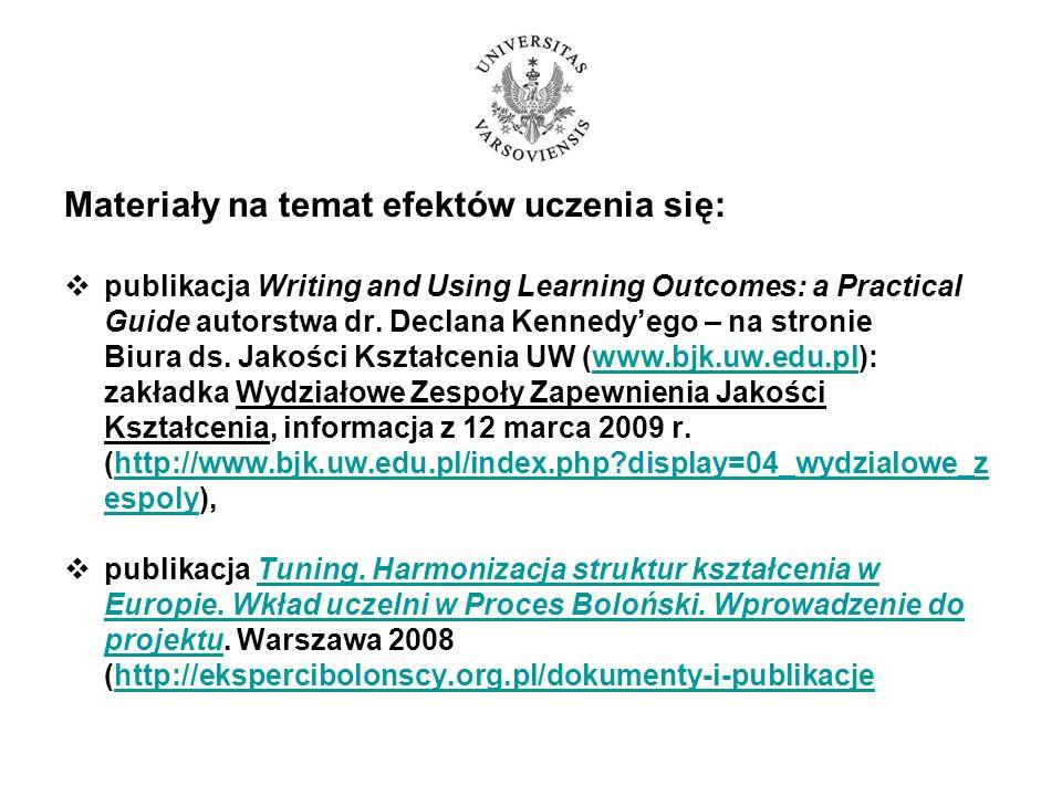 Materiały na temat efektów uczenia się: publikacja Writing and Using Learning Outcomes: a Practical Guide autorstwa dr. Declana Kennedyego – na stroni
