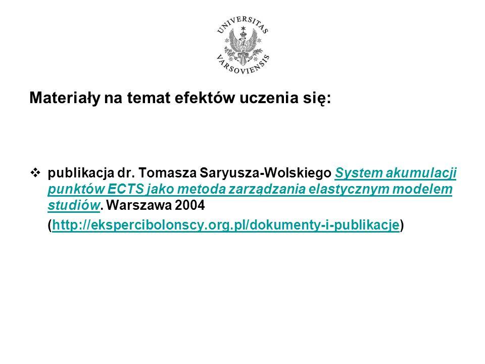 Materiały na temat efektów uczenia się: publikacja dr. Tomasza Saryusza-Wolskiego System akumulacji punktów ECTS jako metoda zarządzania elastycznym m