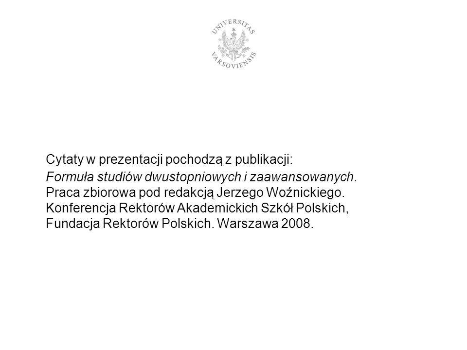 Cytaty w prezentacji pochodzą z publikacji: Formuła studiów dwustopniowych i zaawansowanych. Praca zbiorowa pod redakcją Jerzego Woźnickiego. Konferen