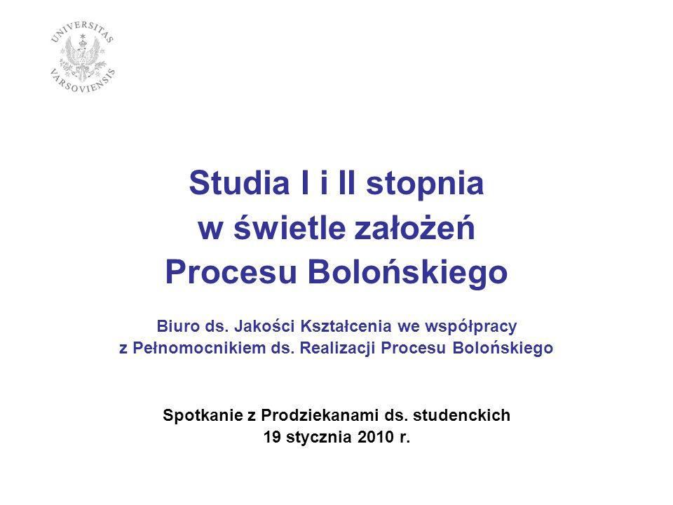 Studia I i II stopnia w świetle założeń Procesu Bolońskiego Biuro ds. Jakości Kształcenia we współpracy z Pełnomocnikiem ds. Realizacji Procesu Bolońs