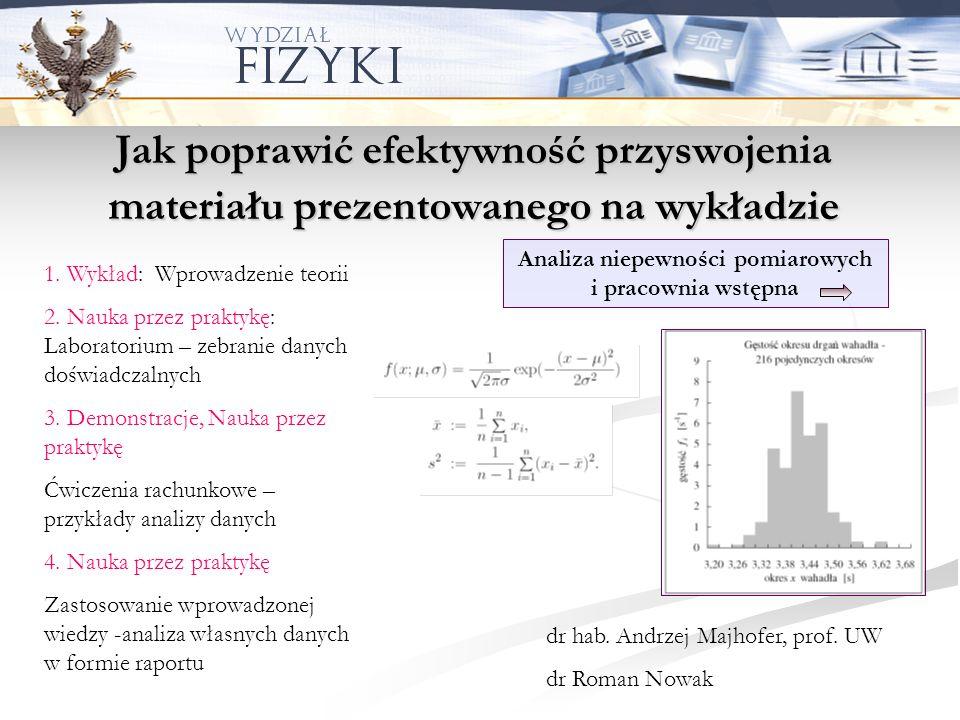 Jak uatrakcyjnić wykład i zaangażować studentów Fizyka w doświadczeniach dr hab.
