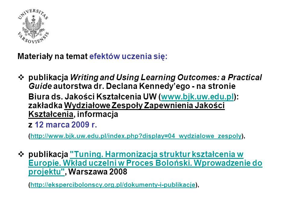 Materiały na temat efektów uczenia się: publikacja Writing and Using Learning Outcomes: a Practical Guide autorstwa dr.