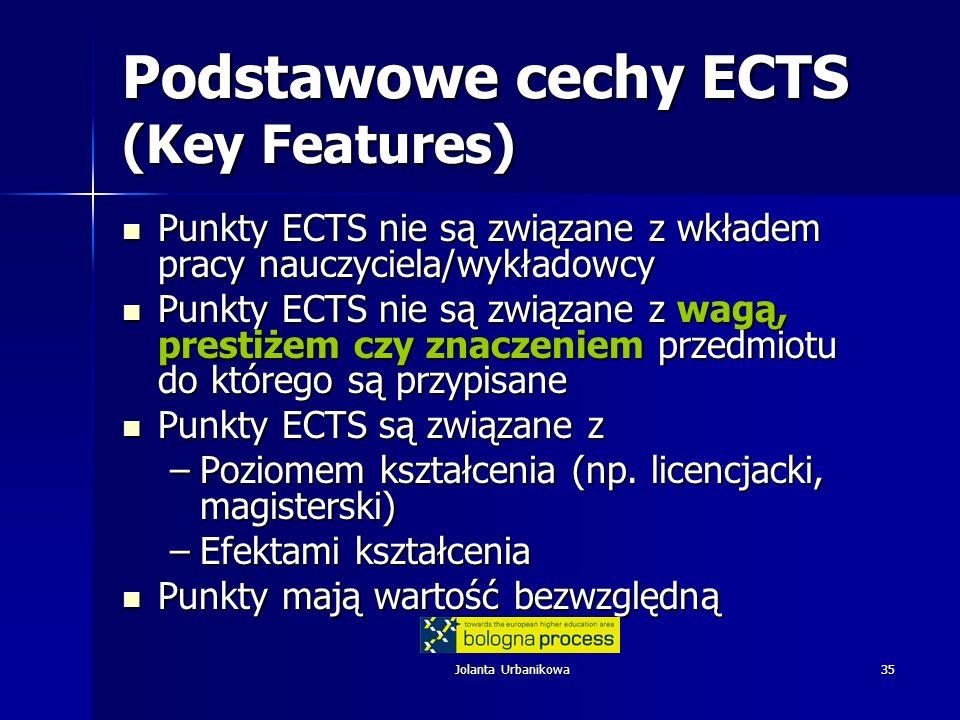 Jolanta Urbanikowa35 Podstawowe cechy ECTS (Key Features) Punkty ECTS nie są związane z wkładem pracy nauczyciela/wykładowcy Punkty ECTS nie są związane z wkładem pracy nauczyciela/wykładowcy Punkty ECTS nie są związane z wagą, prestiżem czy znaczeniem przedmiotu do którego są przypisane Punkty ECTS nie są związane z wagą, prestiżem czy znaczeniem przedmiotu do którego są przypisane Punkty ECTS są związane z Punkty ECTS są związane z –Poziomem kształcenia (np.