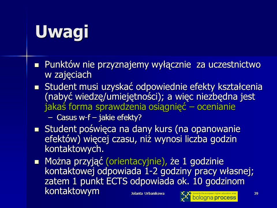 Jolanta Urbanikowa39 Uwagi Punktów nie przyznajemy wyłącznie za uczestnictwo w zajęciach Punktów nie przyznajemy wyłącznie za uczestnictwo w zajęciach Student musi uzyskać odpowiednie efekty kształcenia (nabyć wiedzę/umiejętności); a więc niezbędna jest jakaś forma sprawdzenia osiągnięć – ocenianie Student musi uzyskać odpowiednie efekty kształcenia (nabyć wiedzę/umiejętności); a więc niezbędna jest jakaś forma sprawdzenia osiągnięć – ocenianie –Casus w-f – jakie efekty.