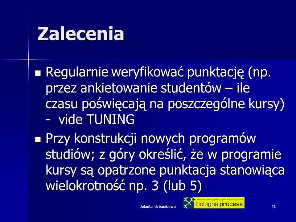 Jolanta Urbanikowa41 Zalecenia Regularnie weryfikować punktację (np.