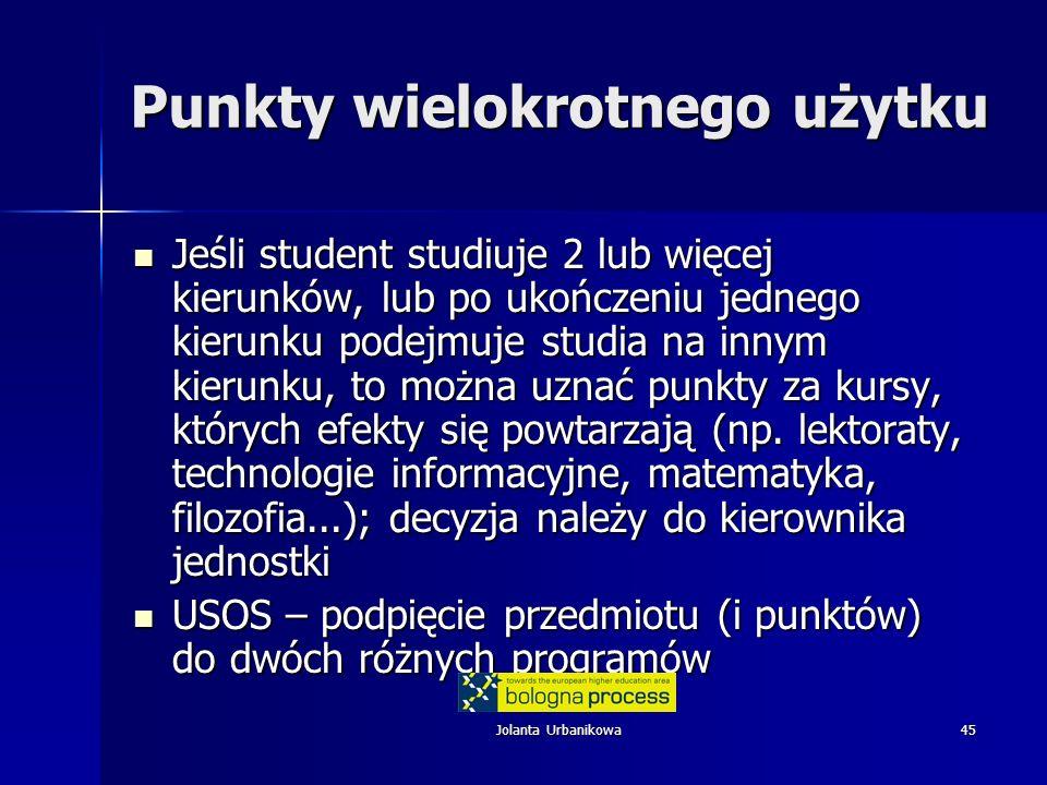 Jolanta Urbanikowa45 Punkty wielokrotnego użytku Jeśli student studiuje 2 lub więcej kierunków, lub po ukończeniu jednego kierunku podejmuje studia na innym kierunku, to można uznać punkty za kursy, których efekty się powtarzają (np.