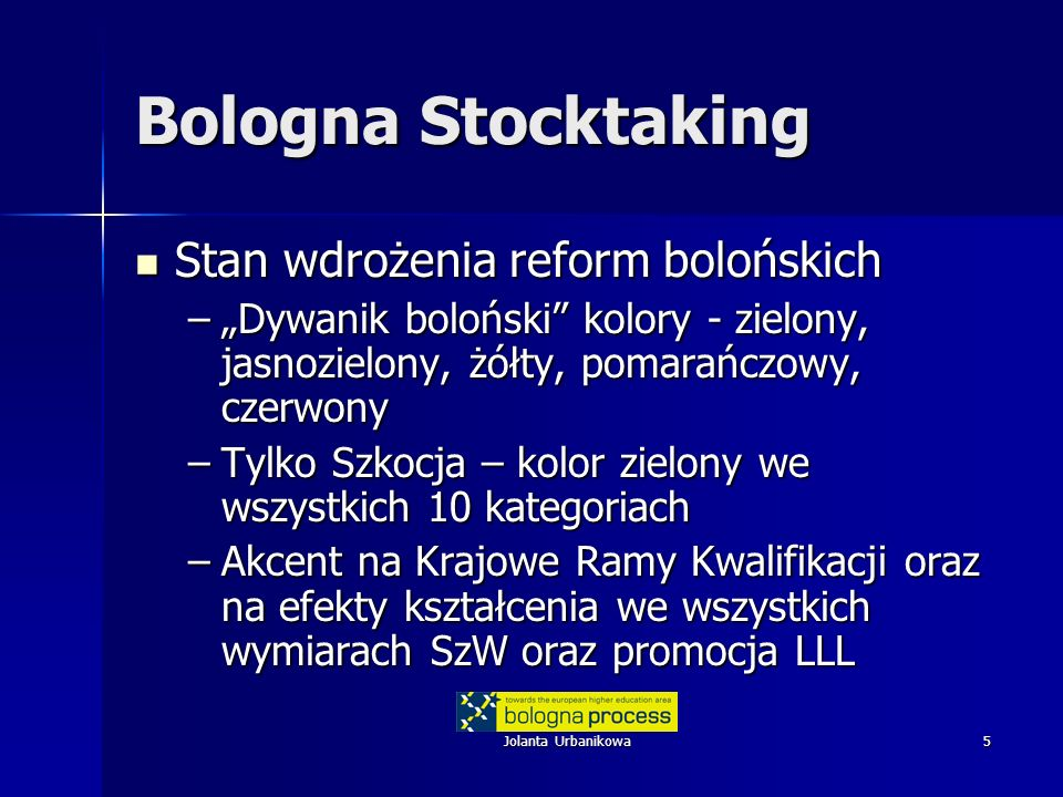 Jolanta Urbanikowa5 Bologna Stocktaking Stan wdrożenia reform bolońskich Stan wdrożenia reform bolońskich –Dywanik boloński kolory - zielony, jasnozielony, żółty, pomarańczowy, czerwony –Tylko Szkocja – kolor zielony we wszystkich 10 kategoriach –Akcent na Krajowe Ramy Kwalifikacji oraz na efekty kształcenia we wszystkich wymiarach SzW oraz promocja LLL