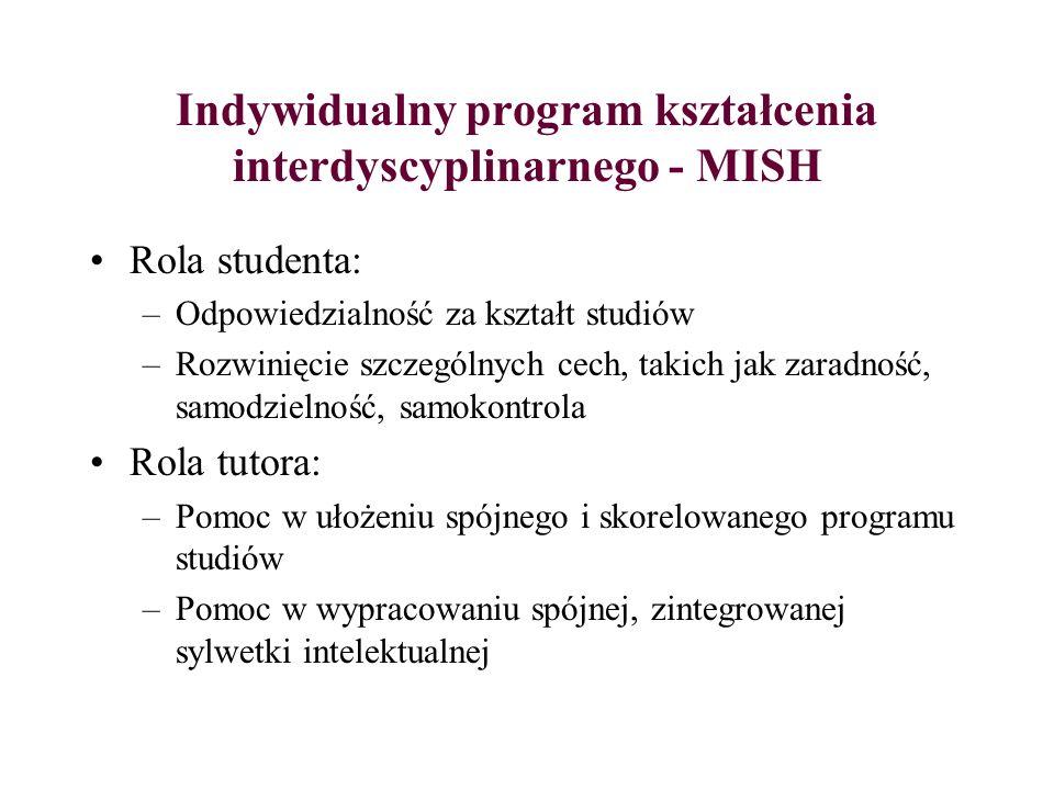 Indywidualny program kształcenia interdyscyplinarnego - MISH Rola studenta: –Odpowiedzialność za kształt studiów –Rozwinięcie szczególnych cech, takic