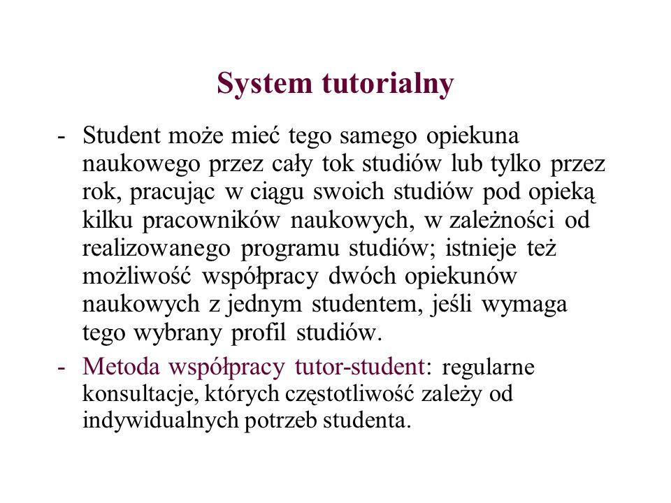 System tutorialny -Student może mieć tego samego opiekuna naukowego przez cały tok studiów lub tylko przez rok, pracując w ciągu swoich studiów pod op