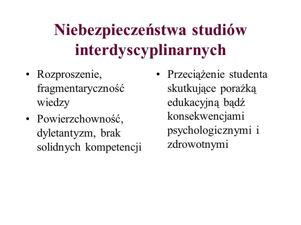 Niebezpieczeństwa studiów interdyscyplinarnych Rozproszenie, fragmentaryczność wiedzy Powierzchowność, dyletantyzm, brak solidnych kompetencji Przecią