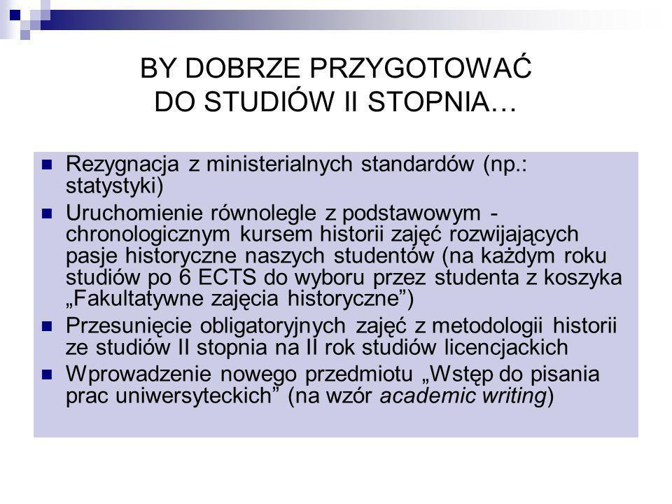 BY DOBRZE PRZYGOTOWAĆ DO STUDIÓW II STOPNIA… Rezygnacja z ministerialnych standardów (np.: statystyki) Uruchomienie równolegle z podstawowym - chronol