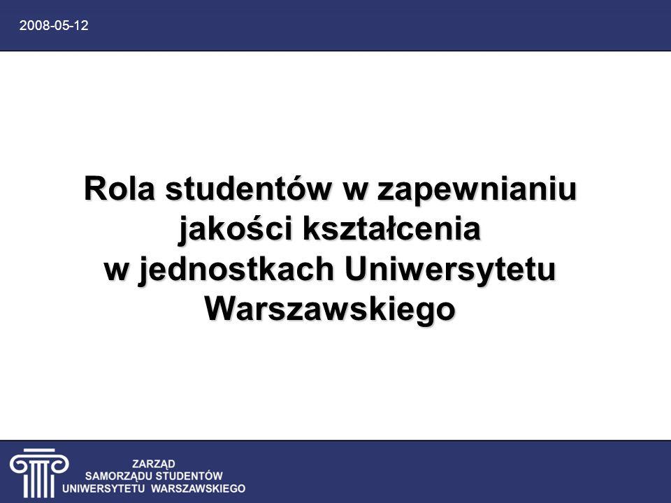 2008-05-12 Studenccy przedstawiciele Organy samorządu studentów Uczelniany Zespół Zapewniania Jakości Kształcenia Wydziałowe Zespoły Zapewniania Jakości Kształcenia Rady Jednostek Uniwersytetu Senatorowie Dobre praktyki w doskonaleniu i zapewnianiu jakości kształcenia na Uniwersytecie Warszawskim Maria Golińska