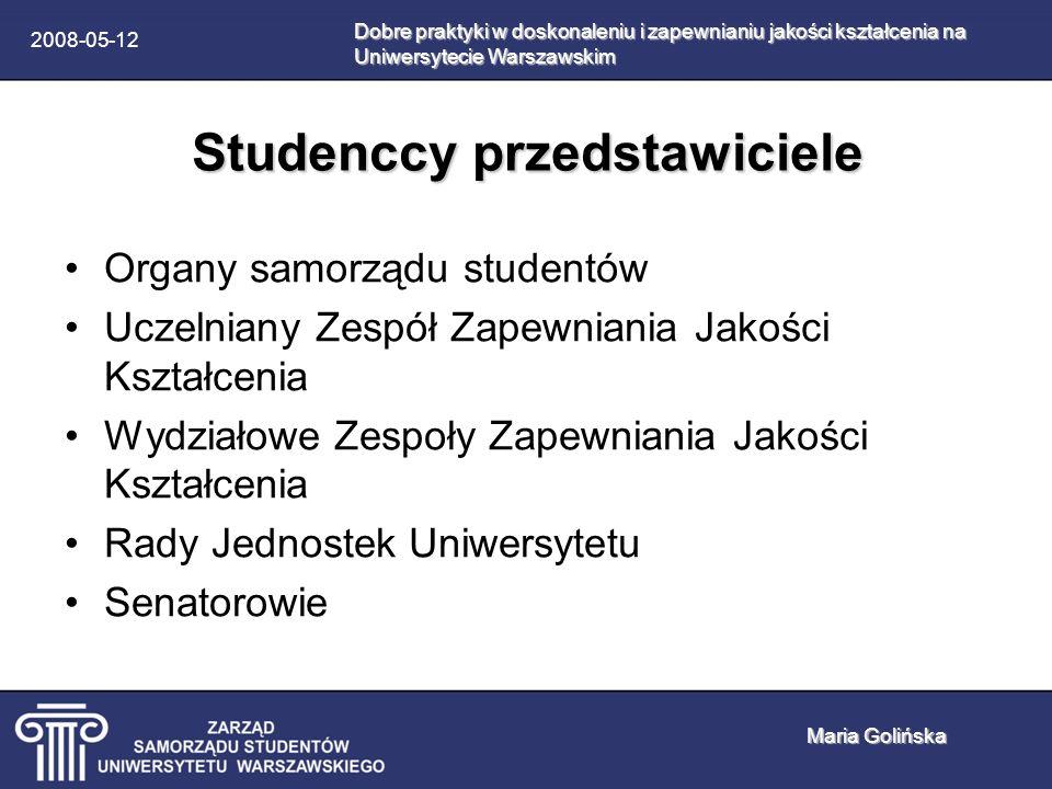2008-05-12 Studenci jako ambasadorowie jakości kształcenia Lobbowanie na rzecz przepisów prawnych Kontrolowanie wdrażania przepisów prawnych Uświadamianie korzyści płynących z poprawy jakości kształcenia Oswajanie z kontrolą jakości kształcenia Dobre praktyki w doskonaleniu i zapewnianiu jakości kształcenia na Uniwersytecie Warszawskim Maria Golińska