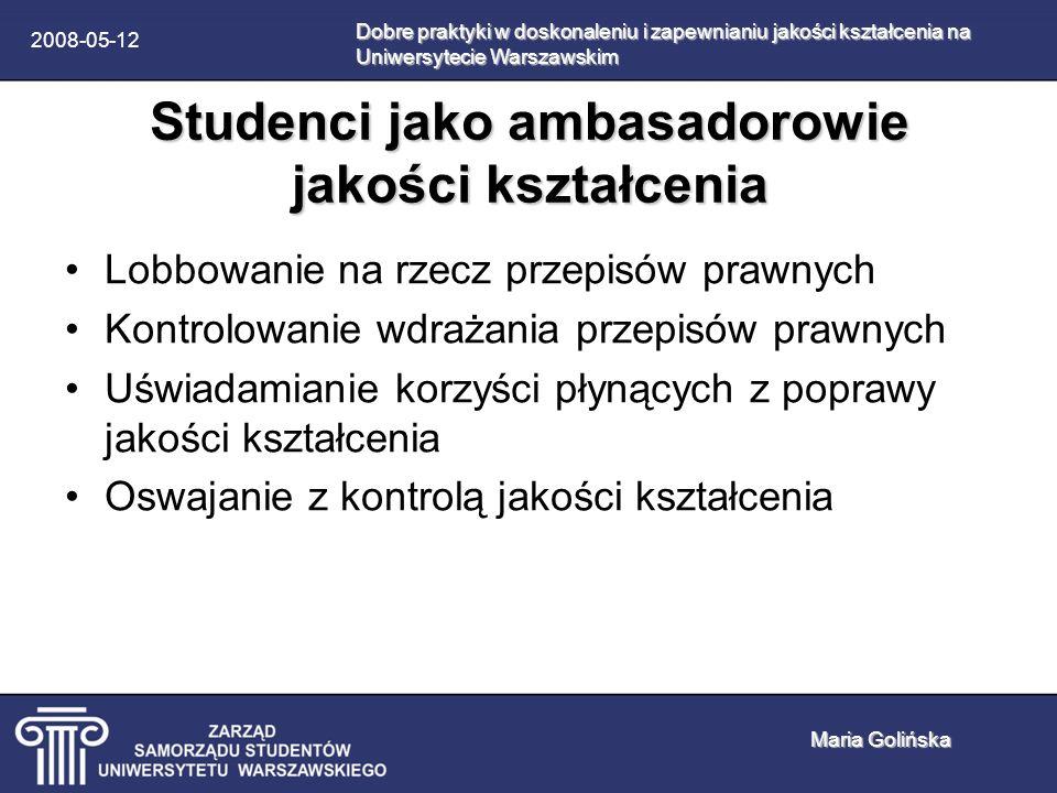 2008-05-12 Oswajanie z kontrolą 1.Tworzenie stron internetowych, na których można anonimowo wyrazić swoją opinię na temat wykładowców (Wydział Zarządzania) 2.Upublicznianie pełnych wyników ankiet przeprowadzanych przez samorządy studentów (Katedra Języków Specjalistycznych) Dobre praktyki w doskonaleniu i zapewnianiu jakości kształcenia na Uniwersytecie Warszawskim Maria Golińska