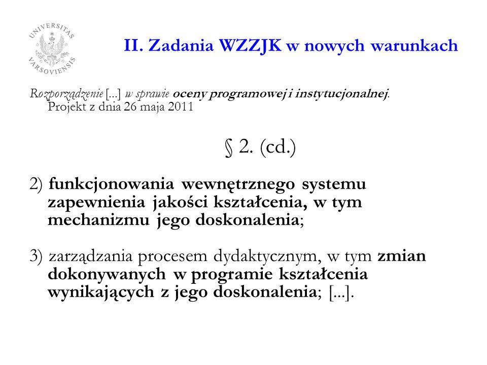 II. Zadania WZZJK w nowych warunkach Rozporządzenie [...] w sprawie oceny programowej i instytucjonalnej. Projekt z dnia 26 maja 2011 § 2. (cd.) 2) fu