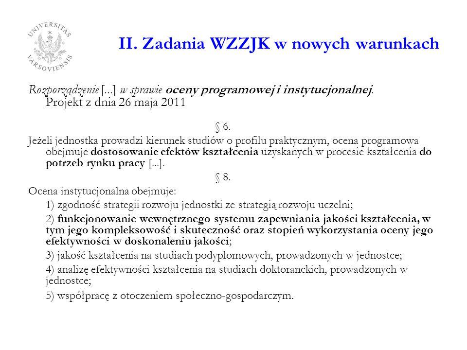 II. Zadania WZZJK w nowych warunkach Rozporządzenie [...] w sprawie oceny programowej i instytucjonalnej. Projekt z dnia 26 maja 2011 § 6. Jeżeli jedn