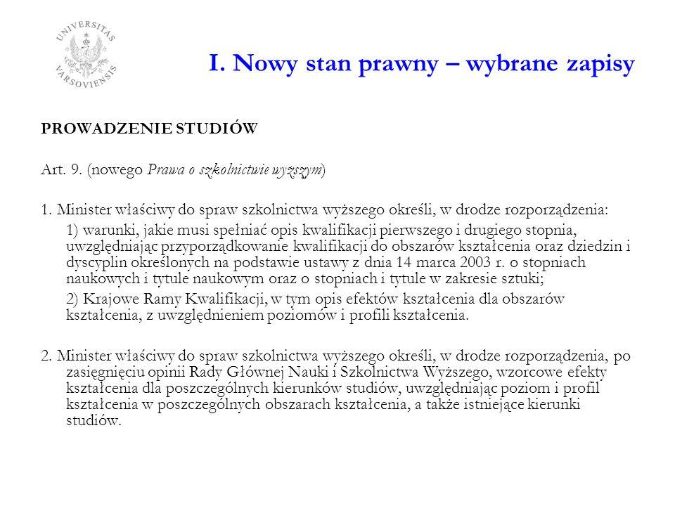 I. Nowy stan prawny – wybrane zapisy PROWADZENIE STUDIÓW Art. 9. (nowego Prawa o szkolnictwie wyższym) 1. Minister właściwy do spraw szkolnictwa wyższ