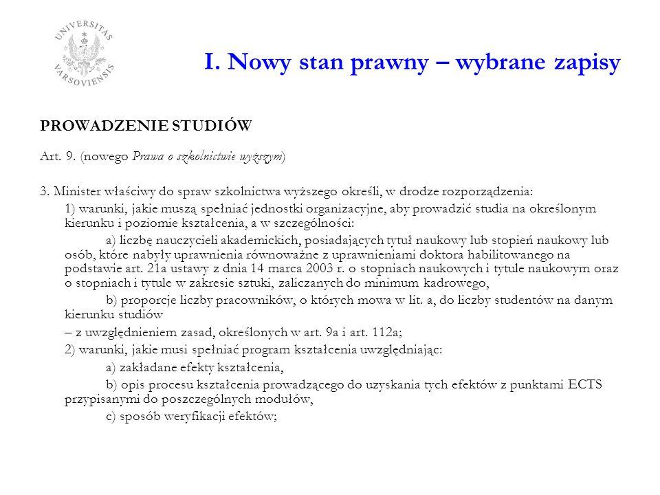I. Nowy stan prawny – wybrane zapisy PROWADZENIE STUDIÓW Art. 9. (nowego Prawa o szkolnictwie wyższym) 3. Minister właściwy do spraw szkolnictwa wyższ