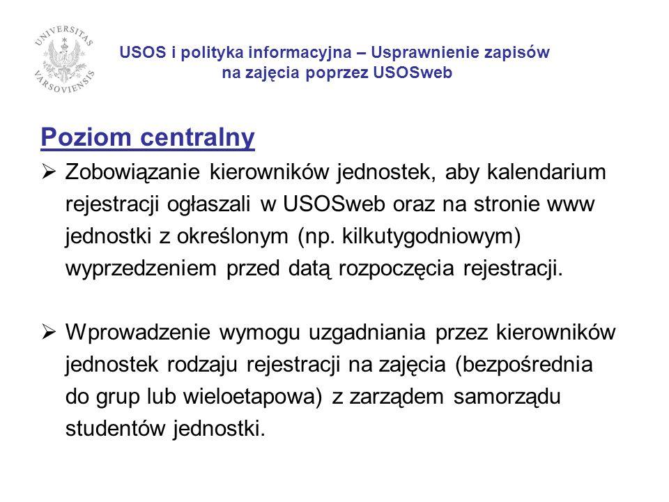USOS i polityka informacyjna – Usprawnienie zapisów na zajęcia poprzez USOSweb Poziom centralny Zobowiązanie kierowników jednostek, aby kalendarium rejestracji ogłaszali w USOSweb oraz na stronie www jednostki z określonym (np.