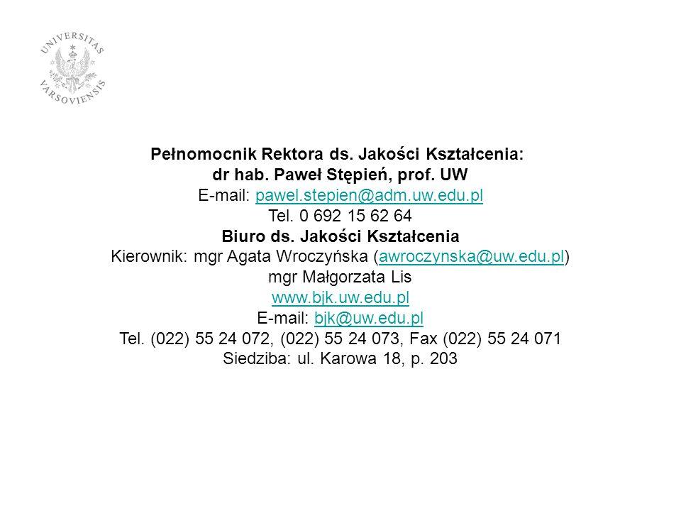 Pełnomocnik Rektora ds. Jakości Kształcenia: dr hab.