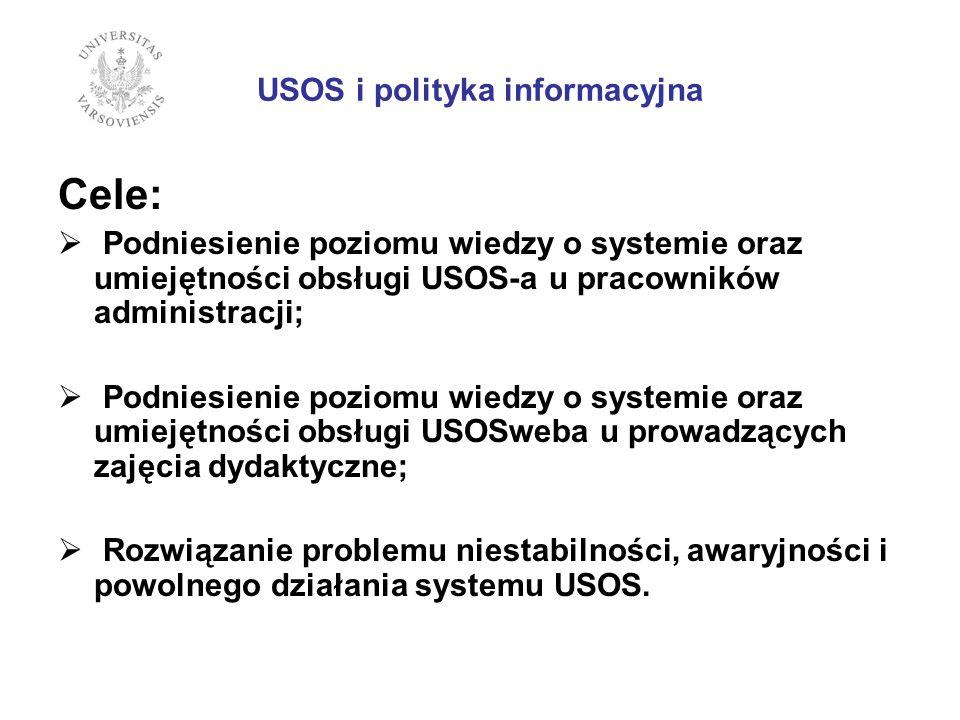 USOS i polityka informacyjna Cele: Podniesienie poziomu wiedzy o systemie oraz umiejętności obsługi USOS-a u pracowników administracji; Podniesienie poziomu wiedzy o systemie oraz umiejętności obsługi USOSweba u prowadzących zajęcia dydaktyczne; Rozwiązanie problemu niestabilności, awaryjności i powolnego działania systemu USOS.