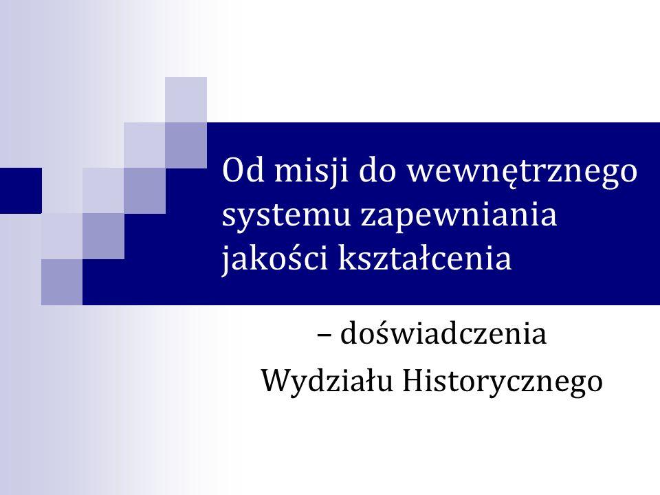 Od misji do wewnętrznego systemu zapewniania jakości kształcenia – doświadczenia Wydziału Historycznego